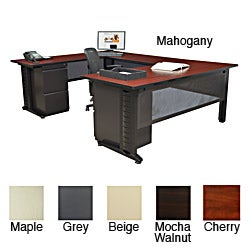 Regency Seating Fusion 66-inch Double Pedestal U-Desk with 48-inch Bridge