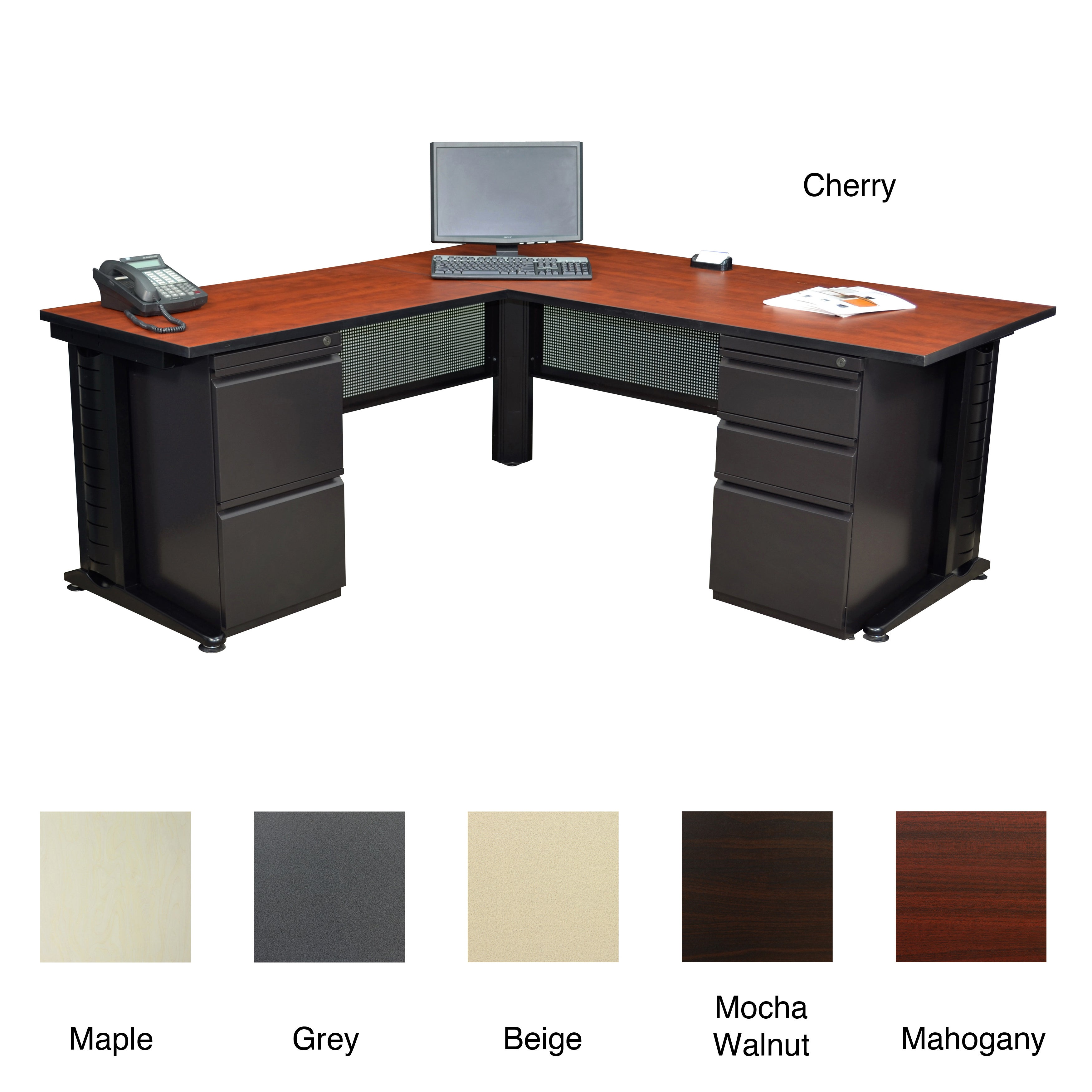 regency seating fusion 66 inch double pedestal l desk with 48 inch