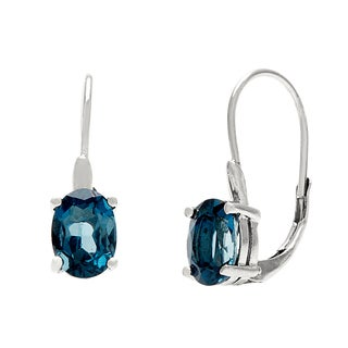 Glitzy Rocks Silver London Blue Topaz Leverback Earrings (3ct TGW)