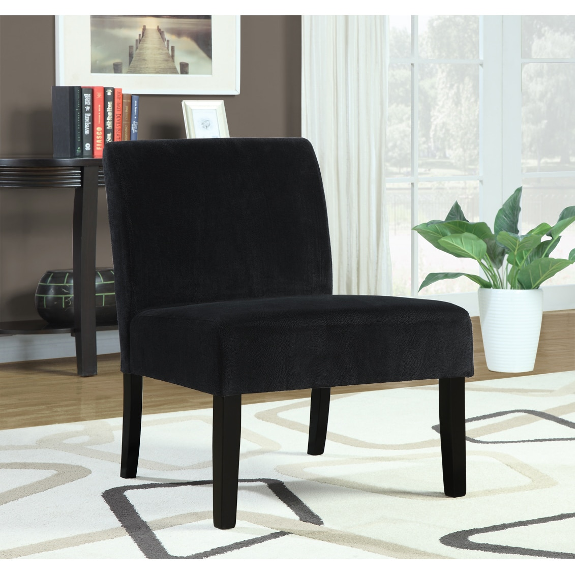 Black Crocodile Velvet Accent Chair 14349421 Overstock