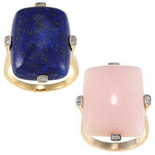 D'Yach Gold over Silver Pink Opal/ Lapis and Diamond Accent Ring