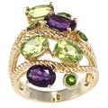 D'Yach Gold over Sterling Silver Amethyst, Peridot and Chrome Diopside Ring