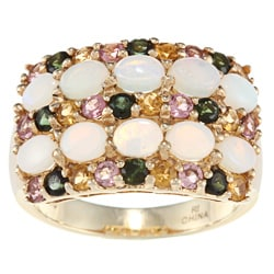 Anika and August Sterling Silver Australian Opal with Multi-color Tourmalines Ring
