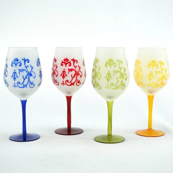 Vibrant Floral 4-piece Wine Glass Set 9252661