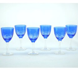 Crystal Blue with Clear Etchings 6-piece Cordial Glass Set