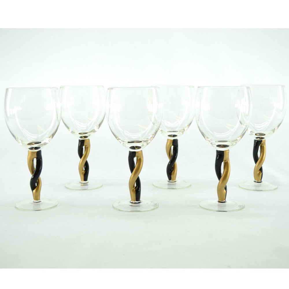 Black and Gold Twisted Stem Wine Glasses (Set of 6)