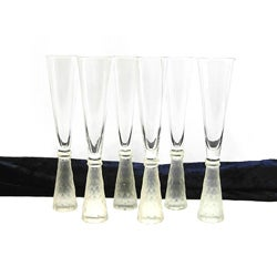 Frosted Decorated Stem Champagne Flute Glass (Set of 6)