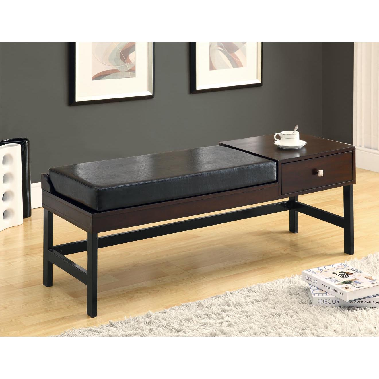 Dark Brown Leather-Look / Cappuccino Bench
