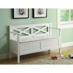 White Solid Wood Bench With Storage