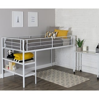 Taylor & Olive Abner White Twin Low Loft Bed with Desk