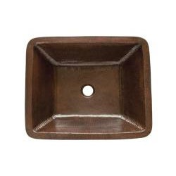 Premier Copper Products Rectangle Under Counter Hammered Copper Bathroom Sink