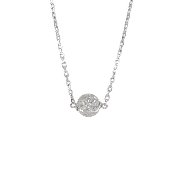 Sunstone Sterling Silver Laser Ball Bead Necklace