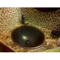 Premier Copper Products Master Bath Oval Self Rimming Hammered Copper Bathroom Sink