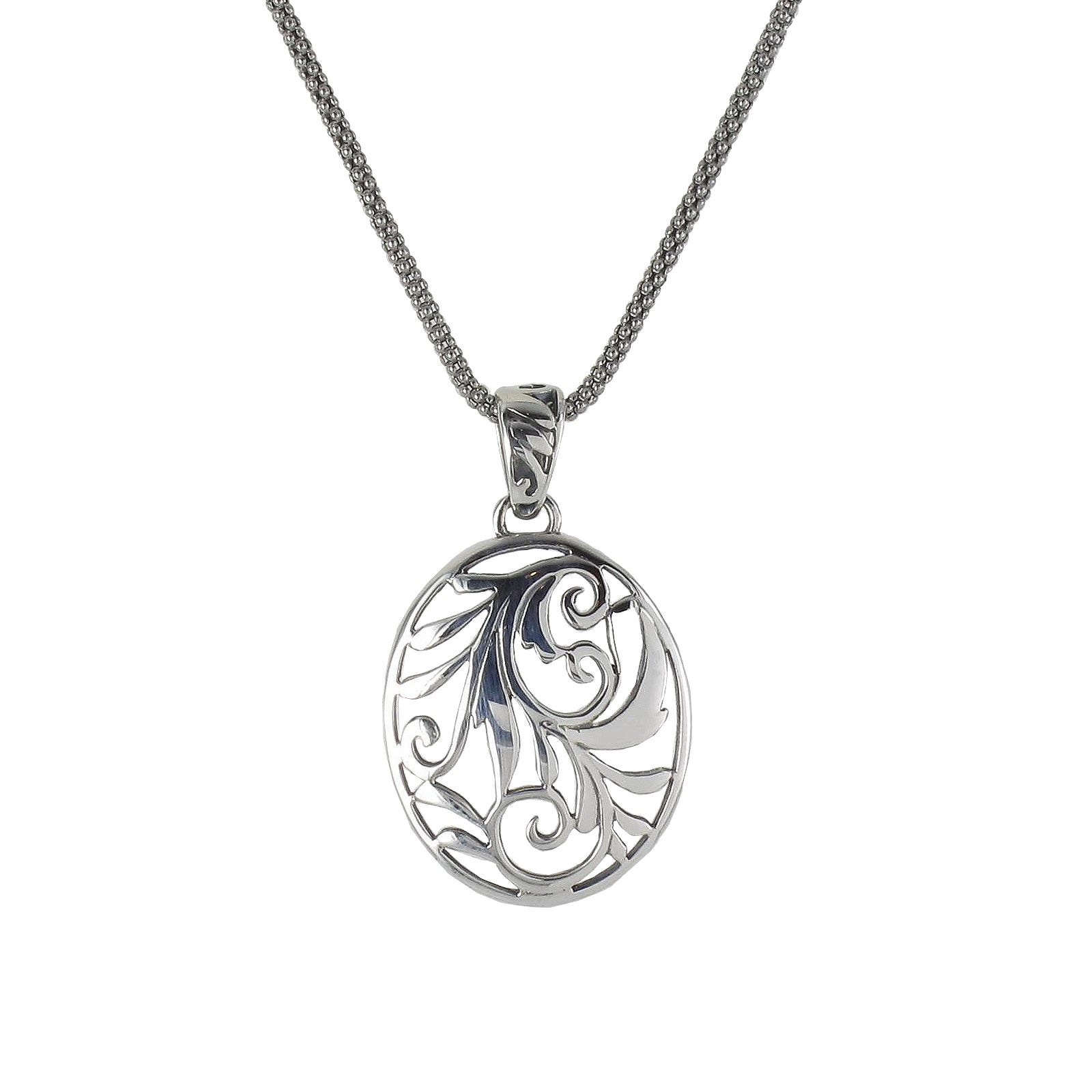 Sunstone Sterling Silver Filigree Oval Pendant Necklace