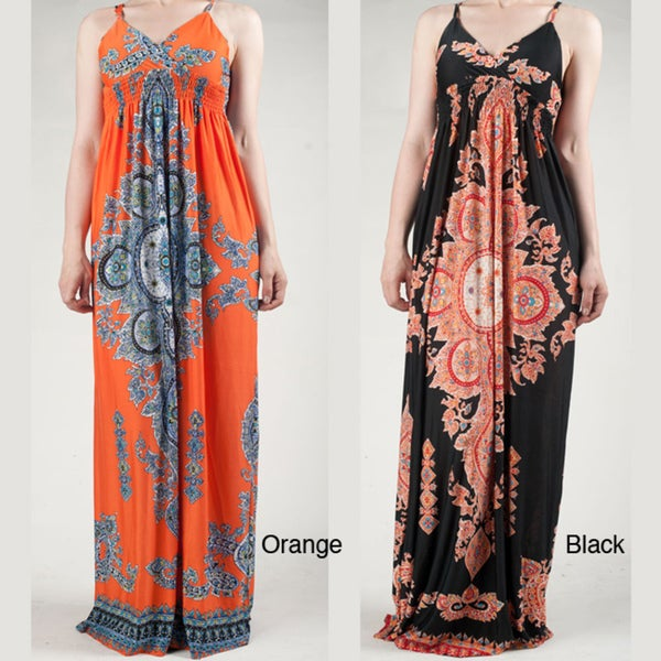 Tabeez Women's Paisley Spaghetti Strap Maxi Dress