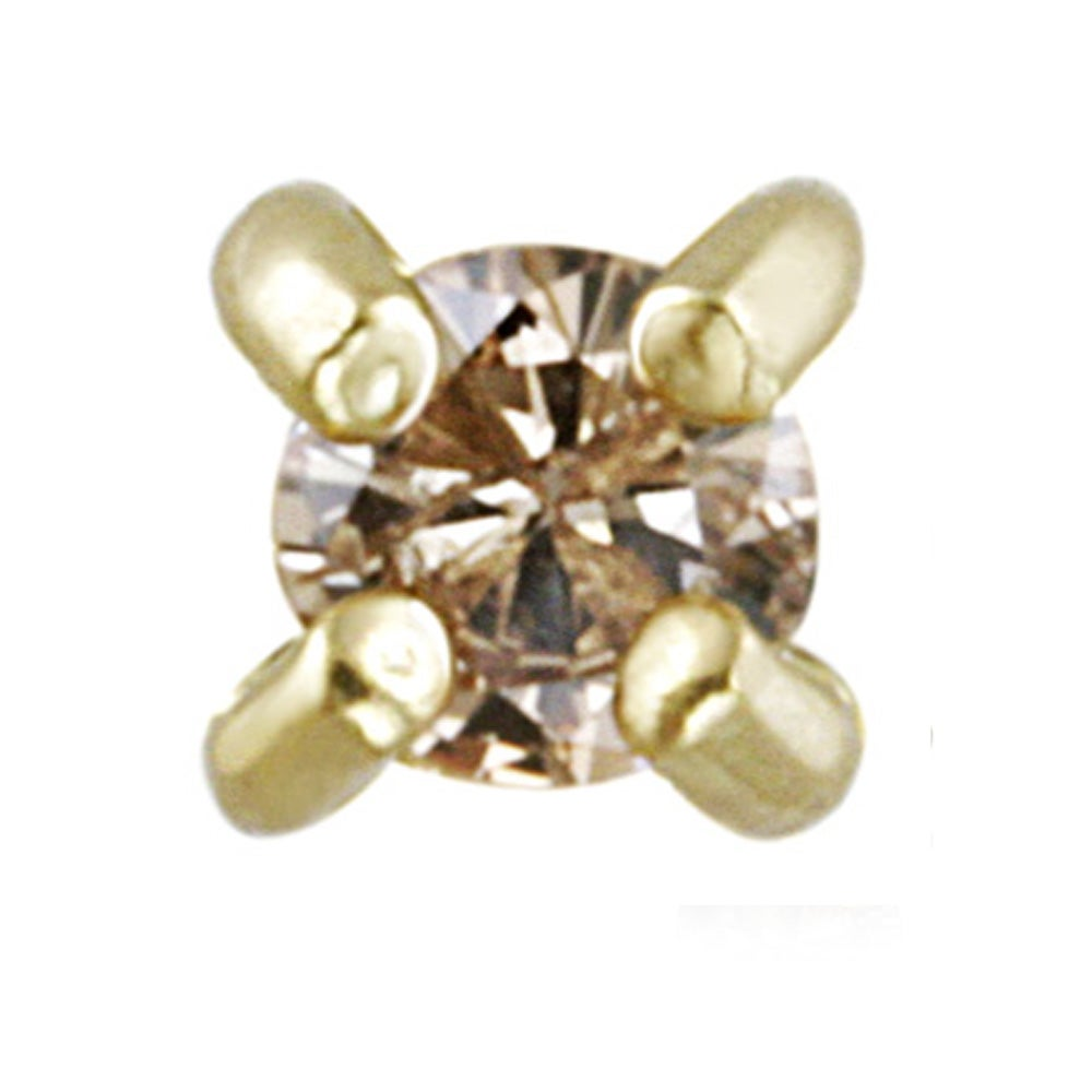DB Designs 18k Yellow Gold Over Silver 1/8ct TDW Champagne Diamond Stud Earring