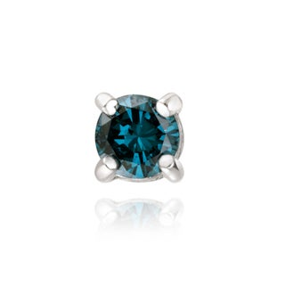 DB Designs Sterling Silver 1/4ct TDW Blue Diamond Stud Earring