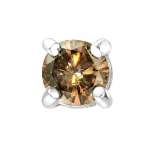 DB Designs Sterling Silver Single Champagne Diamond Stud Earring