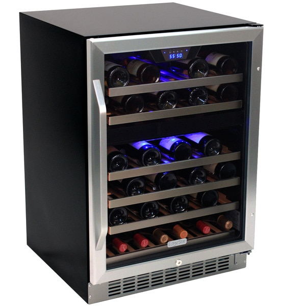 EdgeStar 46 Bottle Built-In Dual Zone Stainless Steel Wine Cooler