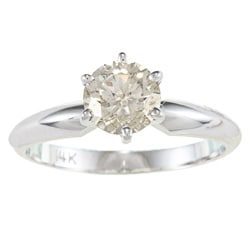 14k Gold 1ct TDW Certified 6-Prong Diamond Solitaire Ring (I-J, SI2-SI3)