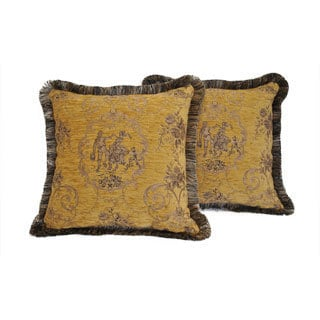 Sherry Kline La Toile Gold Brown Brush Pillow (Set of 2)