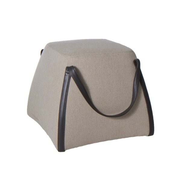 Beige Fabric With Genuine Leather Handles Purse Ottoman