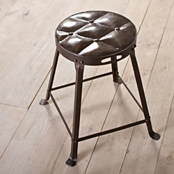 Old Iron Lacquer Metal Tufted Top Dining Stool (India)