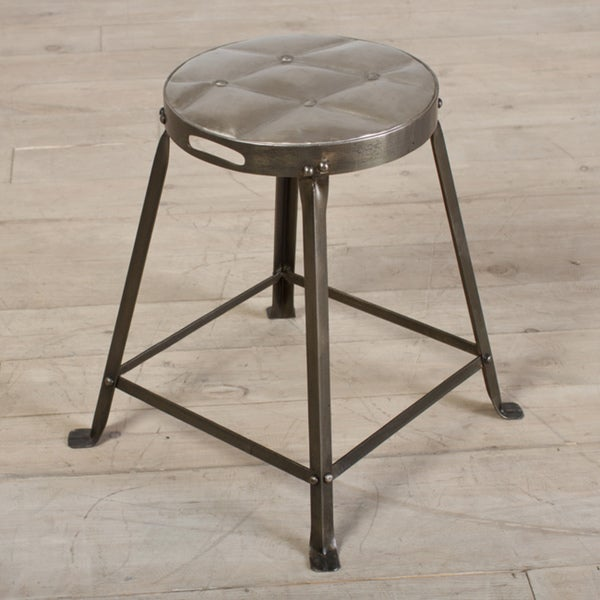 Antique Nickel Metal Tufted Top Dining Stool (India)