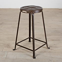 Old Iron Lacquer Metal Tufted Top 26-inch Counter Stool