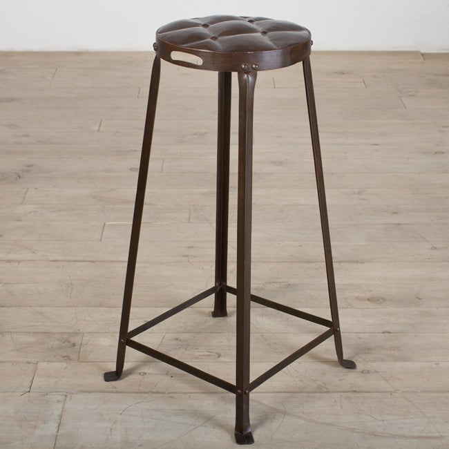 Old Iron Lacquer Metal 30-Inch Tufted Top Bar Stool