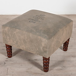Keep Calm Army-green Reclaimed Military Canvas/Wood Ottoman (India)