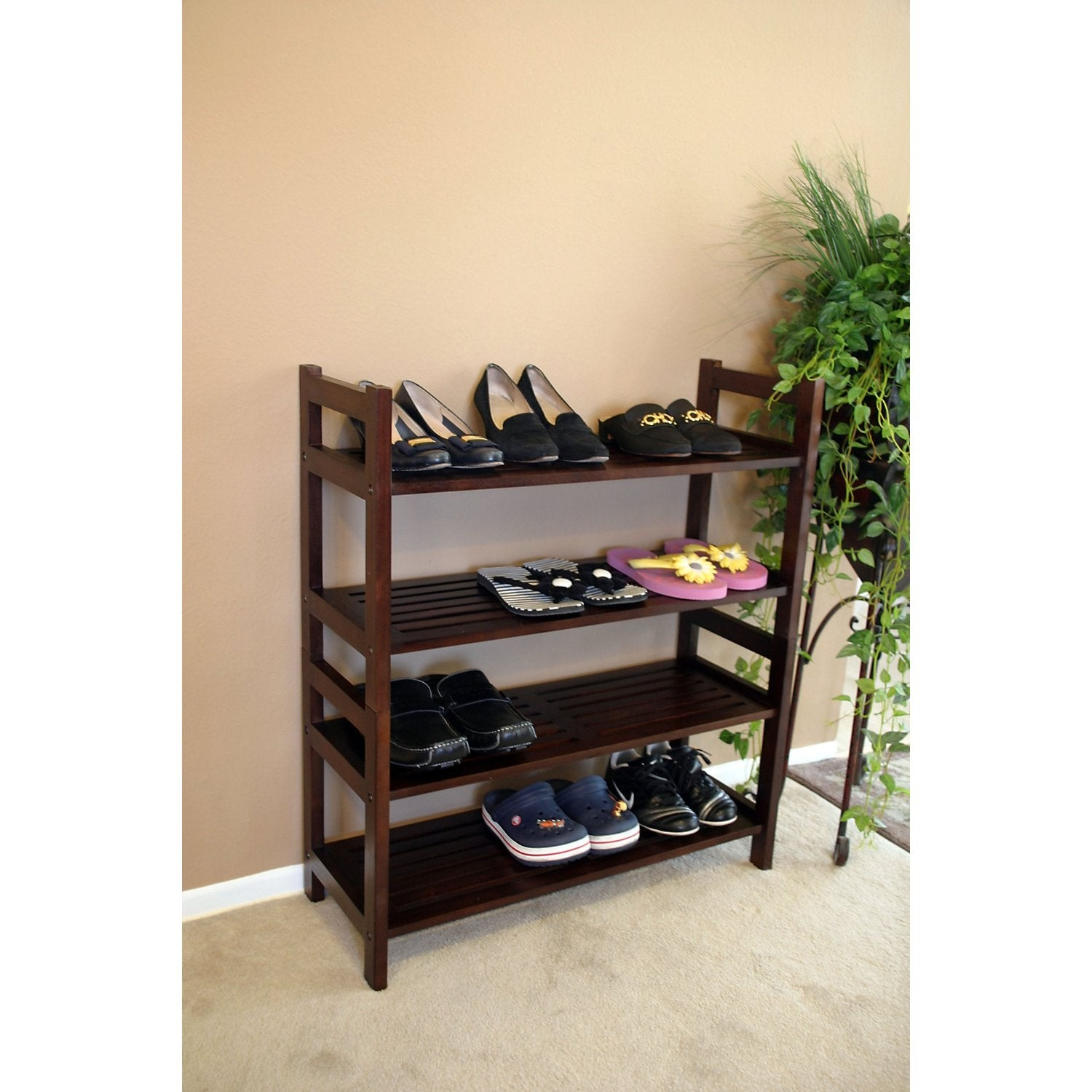 Four Tier Solid Mahogany Wood Media Shoe Rack Bookshelf 14350367