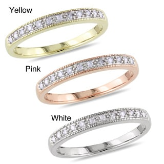 Miadora 10k Gold 1/10ct TDW Diamond Wedding Band (H-I, I2-I3) with Bonus Earrings