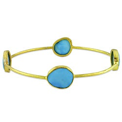 Miadora 22k Goldplated Silver 16ct TGW Turquoise Bangle Bracelet