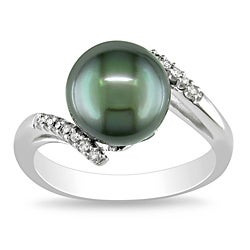 Miadora 10k White Gold Black Tahitian Pearl and Diamond Accent Ring (9-9.5 mm)
