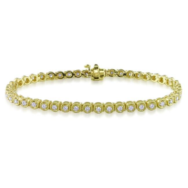 Miadora 14k Yellow Gold 1 1/3ct TDW Diamond Tennis Bracelet (G-H, SI1)