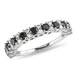 Miadora 14k White Gold 1ct TDW Black and White Diamond Ring (H-I, I2-I3) with Bonus Earrings