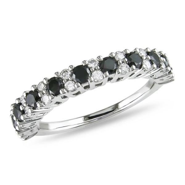 Miadora 14k White Gold 1ct TDW Black and White Diamond Ring (H-I, I2-I3)