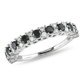 Miadora 14k White Gold 1ct TDW Black and White Diamond Ring (H-I, I2-I3)