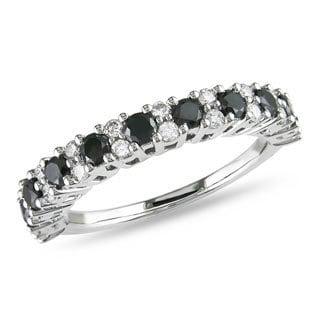 Miadora 14k White Gold 1ct TDW Black and White Diamond Ring (H-I, I2-I3) with Bonus Earrings