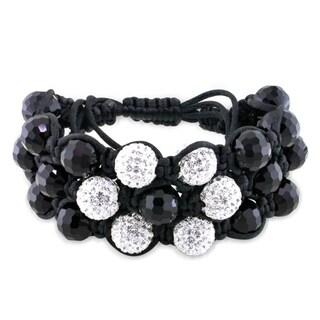 M by Miadora Black Crystal and White Cubic Zirconia Macrame Bracelet