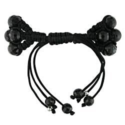 Miadora Black Crystal and White Cubic Zirconia Macrame Bracelet