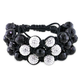 M by Miadora Black Crystal and White Cubic Zirconia Macrame Bracelet