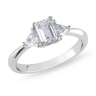 Miadora Platinum 1ct TDW Diamond 3-stone Engagement Ring (G-H, I1-I2) with Bonus Earrings