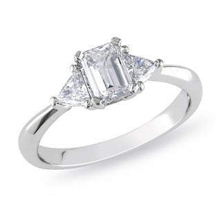 Miadora Signature Collection Platinum 1ct TDW Diamond 3-stone Engagement Ring (G-H, I1-I2)