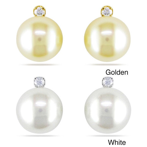 Miadora 14k Gold South Sea Pearl and 1/10ct TDW Diamond Earrings (G-H, I1-I2)