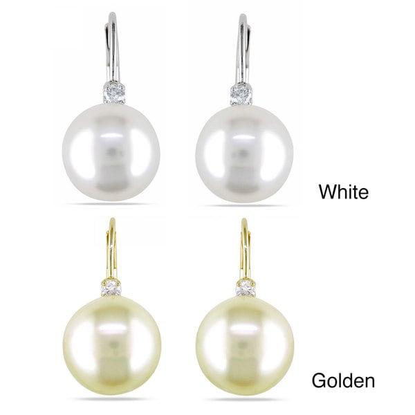 Miadora 14k Gold South Sea and 1/10ct TDW Diamond Earrings (G-H, I1-I2)