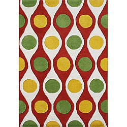 Me & Mom Handmade Tufted Cherry Tomato New Zealand Blend Wool Rug (5' x 8')
