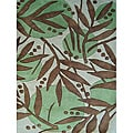 Handmade Metro Flower Green New Zealand Blend Wool Rug (8' x 10')