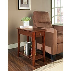 Espresso Finish Wood Chair Side End Table With Drawer